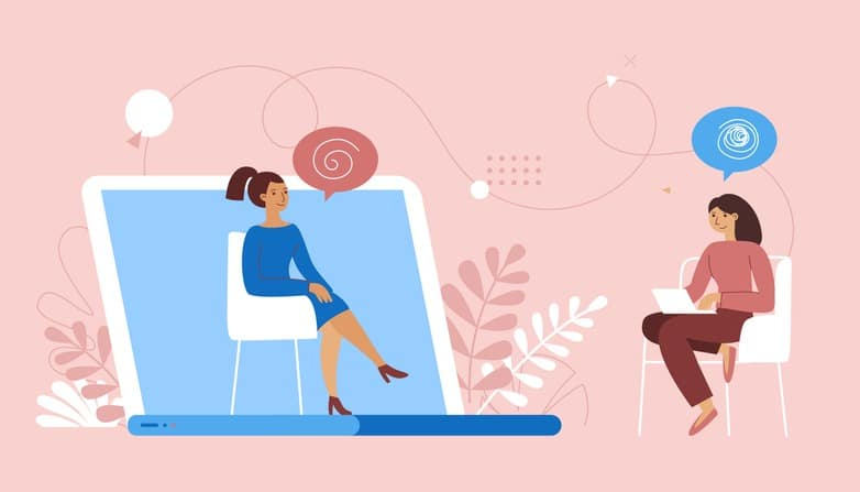 Vector illustration in flat  simple style – online psychological help and support service – psychologist and her patient having video call using modern technology app