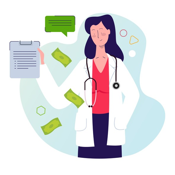 Doctor healthcare billing money payment business concept of ethic in medical billings