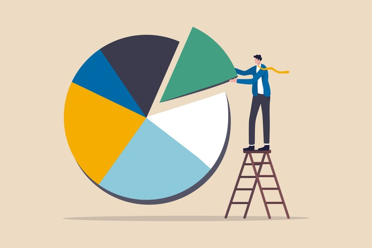 Investment asset allocation and rebalance concept, businessman investor or financial planner standing on ladder to arrange pie chart as rebalancing investment portfolio to suitable for risk and return