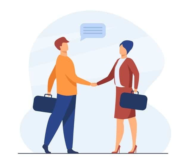 Business partners saying hello or closing deal