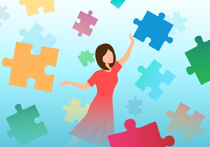 Vector of a confused sad woman trying to assemble puzzle pieces. Psychotherapy concept.