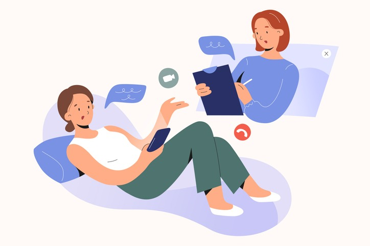 Online psychotherapy concept. Woman psychologist talking to patient, writing notes, psychotherapy counseling via video chat or conference, mental health service, vector characters illustration