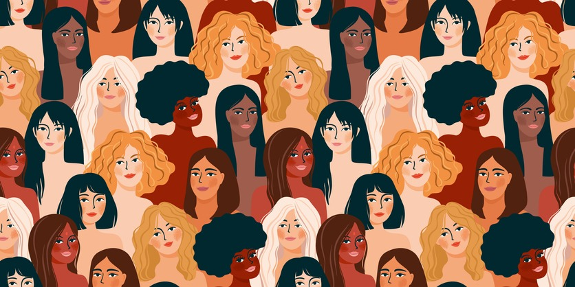 International Womens Day. Vector seamless pattern with women different nationalities and cultures.
